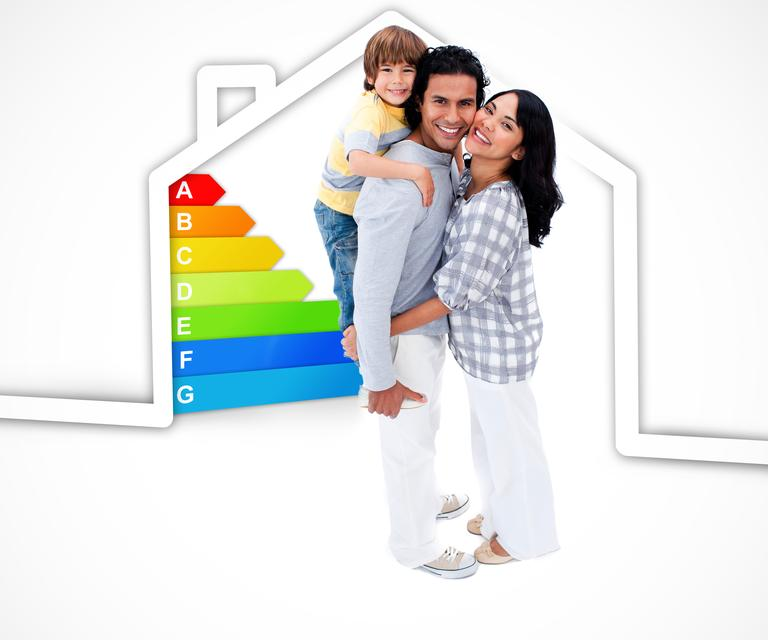"""""""Smiling family standing with a house illustration with energy rating graphic"""" stock image"""