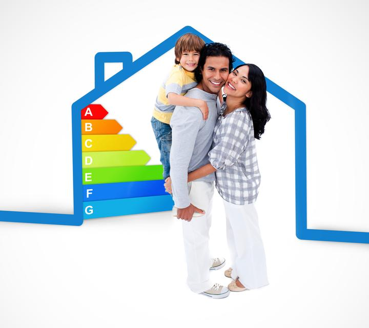 """""""Smiling family standing with a blue house illustration with energy rating graphic"""" stock image"""