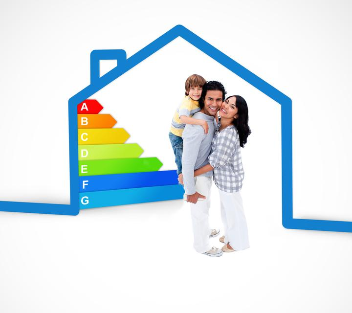 """""""Smiling family standing with a blue house illustration with energy rating"""" stock image"""