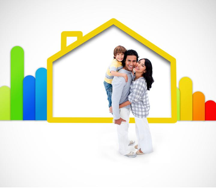 """""""Lovely family standing with a yellow house illustration with energy rating symbol"""" stock image"""