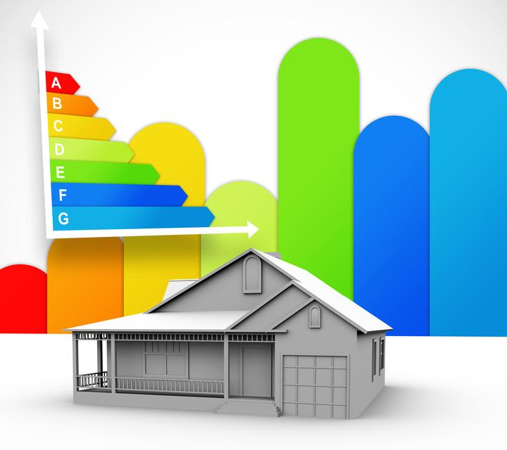"""""""House with energy rating background"""" stock image"""