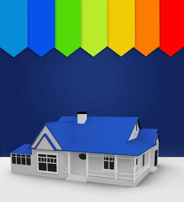 """""""Blue house standing with energy rating"""" stock image"""