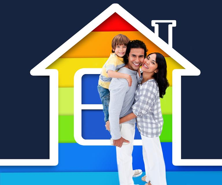 """""""Embracing family standing with a house illustration"""" stock image"""