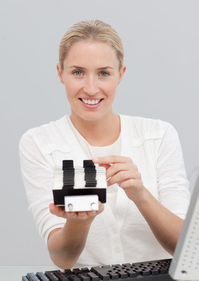 """""""Businesswoman holding an index holder"""" stock image"""