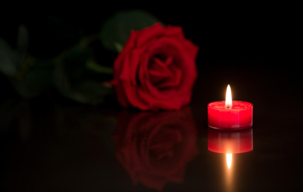 """Romantic candle with red rose"" stock image"