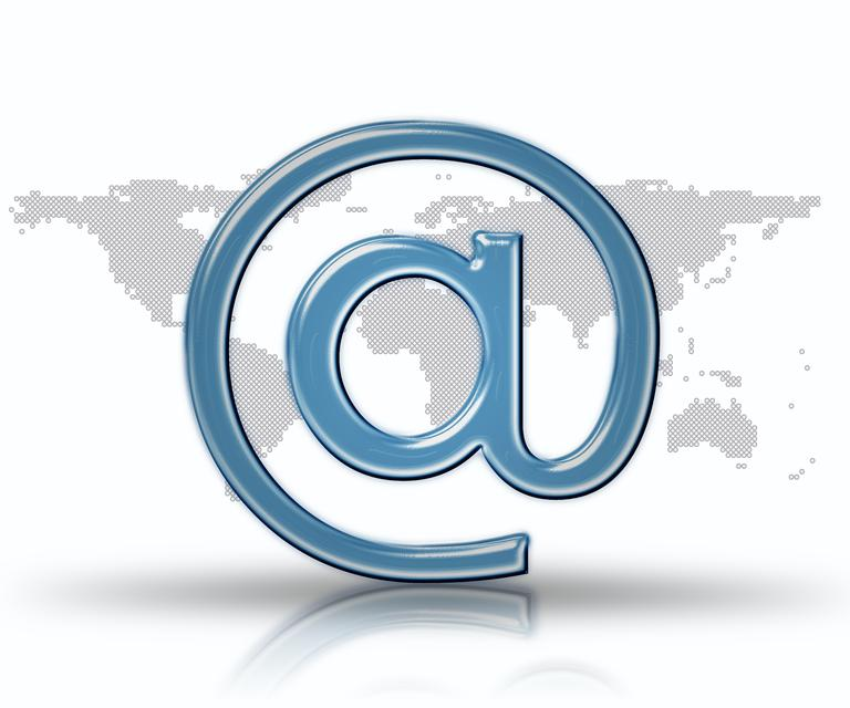 """Blue email at symbol"" stock image"