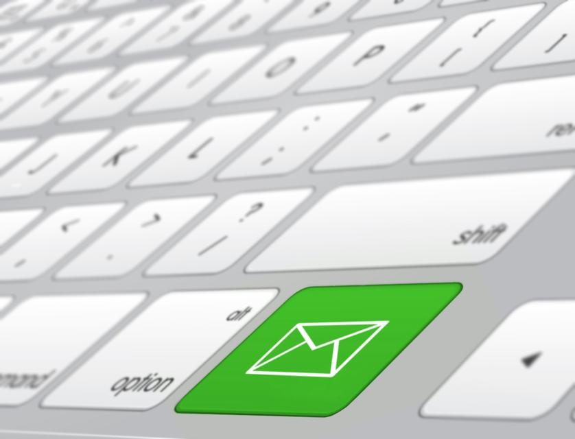"""Green shortcut button for email on keyboard"" stock image"