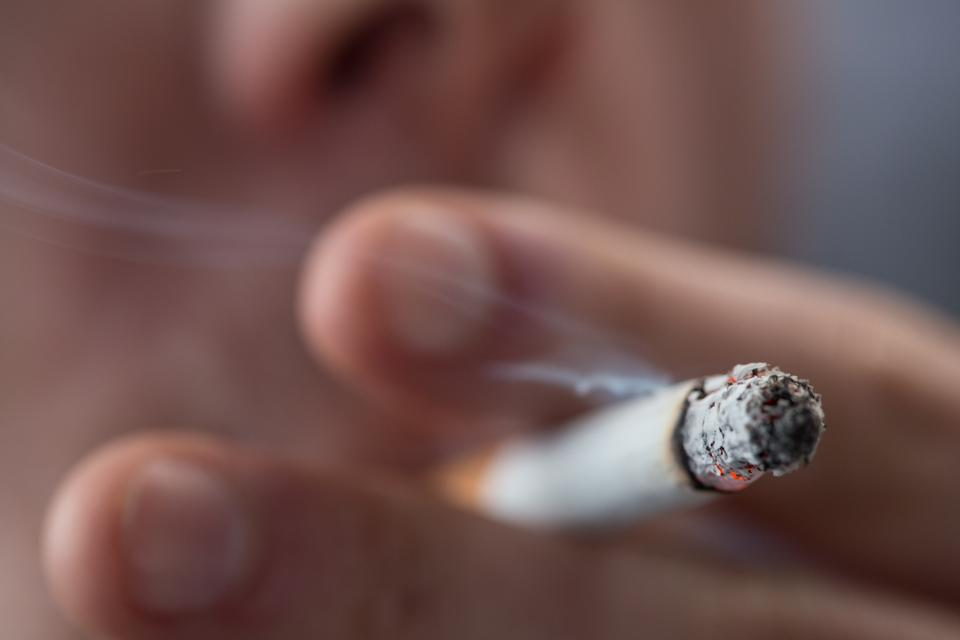 """""""Focus on top of burning cigarette"""" stock image"""