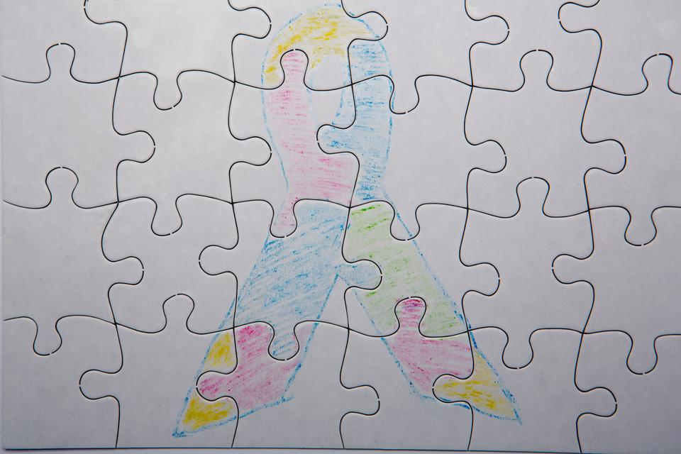 """""""Crayon drawing of autism and aspergers ribbon"""" stock image"""