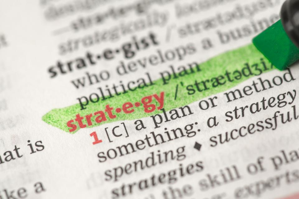 """Highlighted definition of strategy"" stock image"