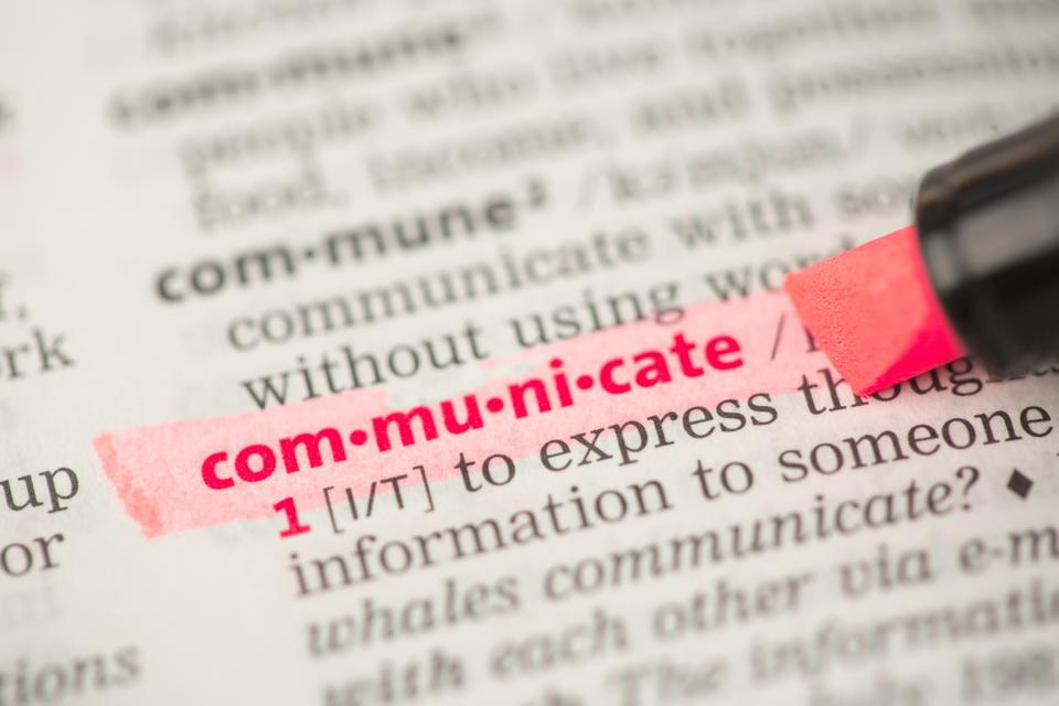 """Communicate definition highlighted in red"" stock image"