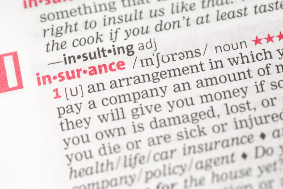 """""""Insurance definition"""" stock image"""