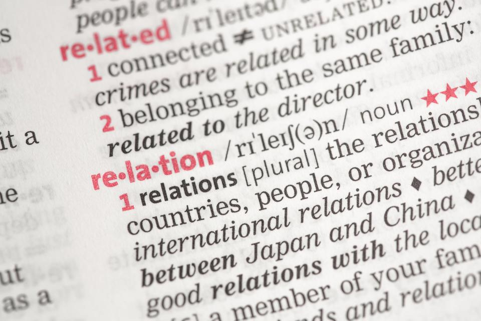 """""""Relation definition"""" stock image"""