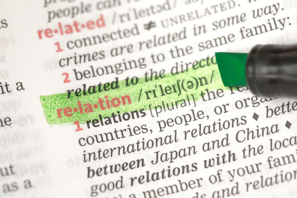 """""""Relation definition highlighted in green"""" stock image"""