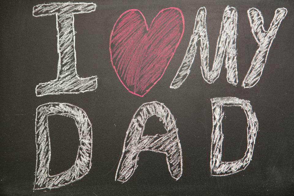 """""""I love my dad message drawn on blackboard with chalk"""" stock image"""