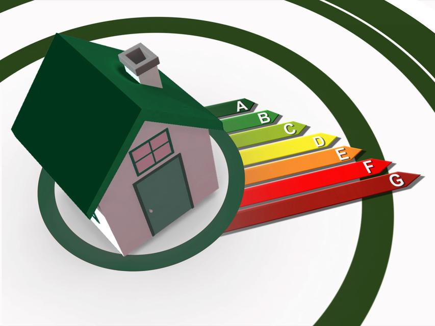 """""""Energy ratings growing from 3d house"""" stock image"""