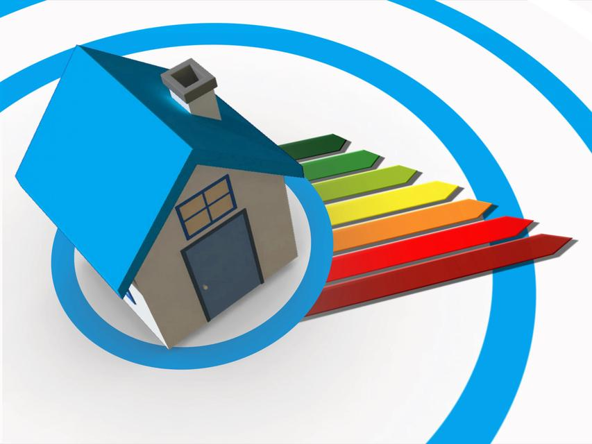 """""""Energy ratings colour chart coming from 3d house"""" stock image"""