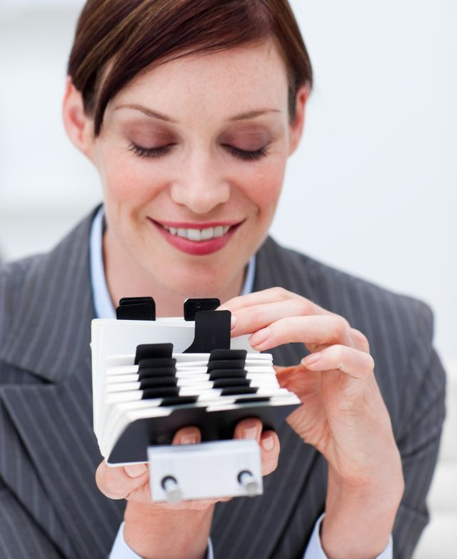 """""""Portrait of a businesswoman searching for the index"""" stock image"""