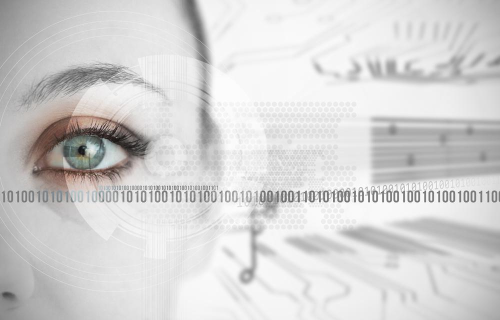 """""""Eye of woman next to binary codes close up"""" stock image"""