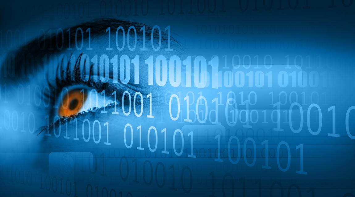 """""""Woman looking away on binary code background"""" stock image"""