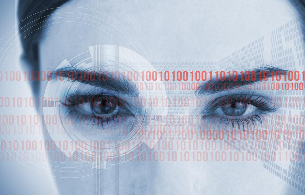 """""""Portrait of an attractive woman with binary code"""" stock image"""