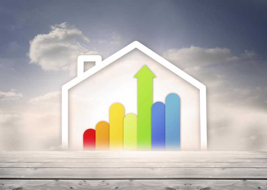 """""""Diagram of a house with energy rating chart"""" stock image"""