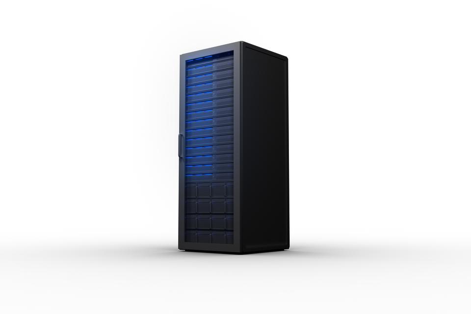 """""""Rack of servers with blue lights"""" stock image"""