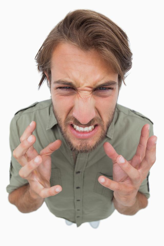 """""""Overhead angle of frustrated man"""" stock image"""