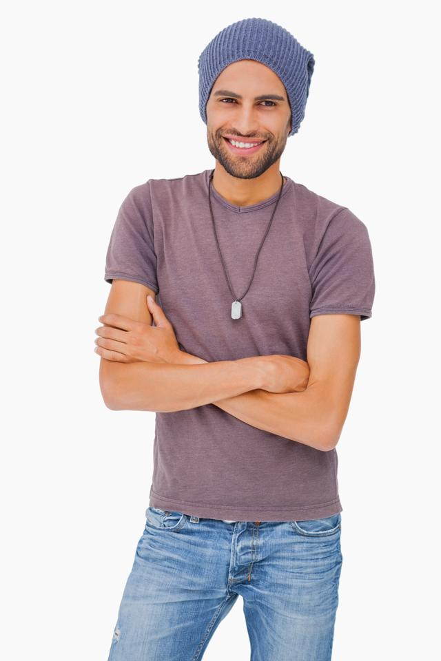 """Stylish man wearing beanie hat"" stock image"