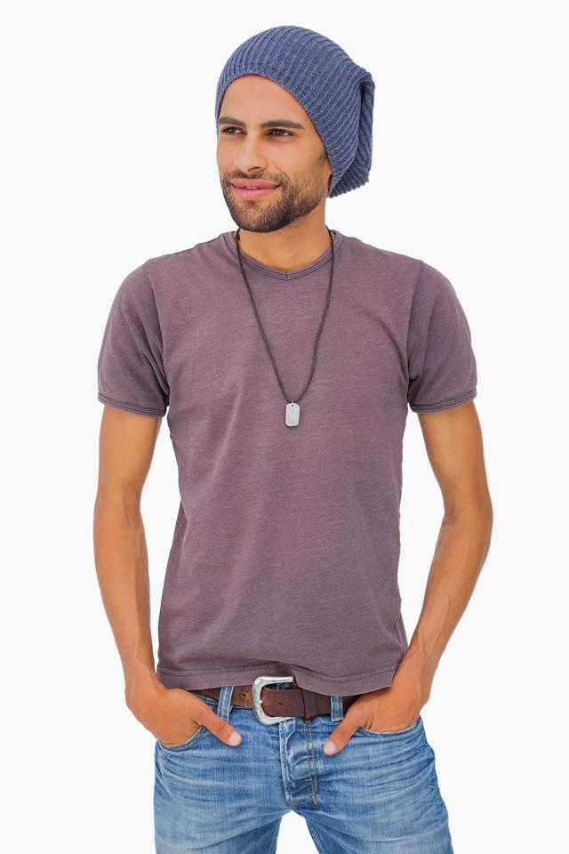 """Handsome man wearing beanie hat"" stock image"