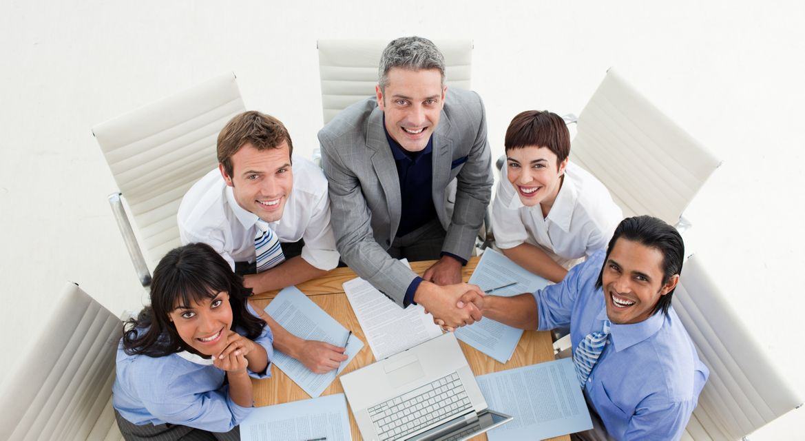 """""""Two business people closing a deal"""" stock image"""