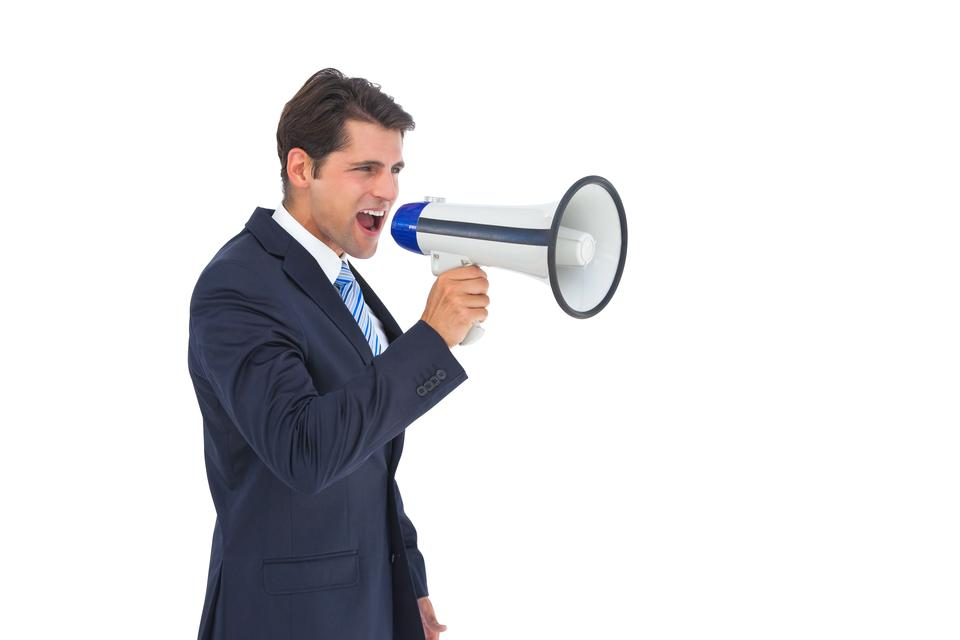 """""""Businessman shouting with a megaphone"""" stock image"""