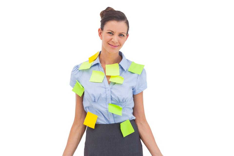 """Businesswoman with sticky notes"" stock image"
