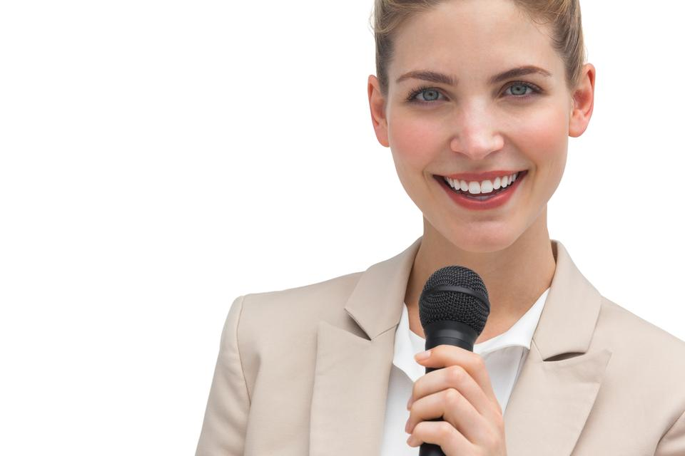 """Classy businesswoman holding microphone"" stock image"