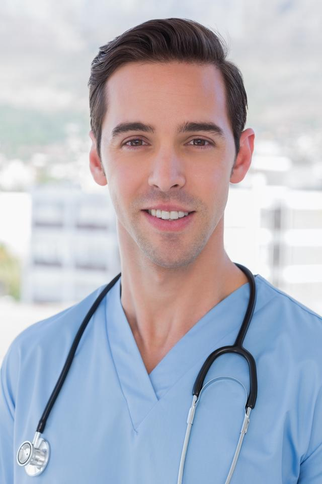 """""""Practitioner standing in his office"""" stock image"""
