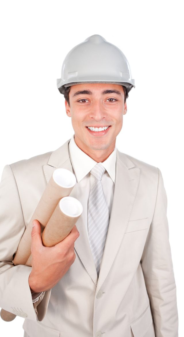 """Young architect wearing a hardhat"" stock image"