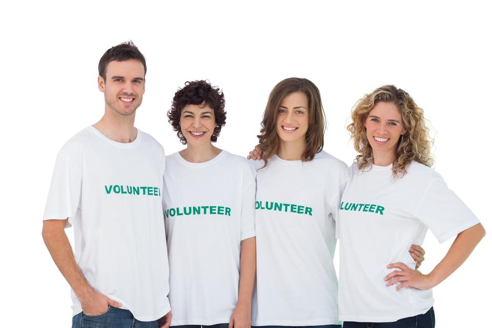 """Cheerful group of volunteers"" stock image"