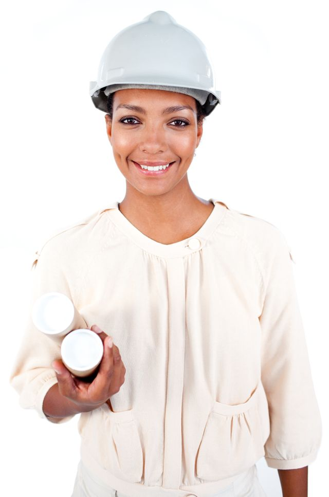 """Female architect with a hardhat"" stock image"