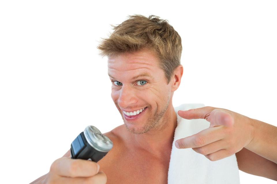"""""""Cheerful man about to shave his stubble"""" stock image"""