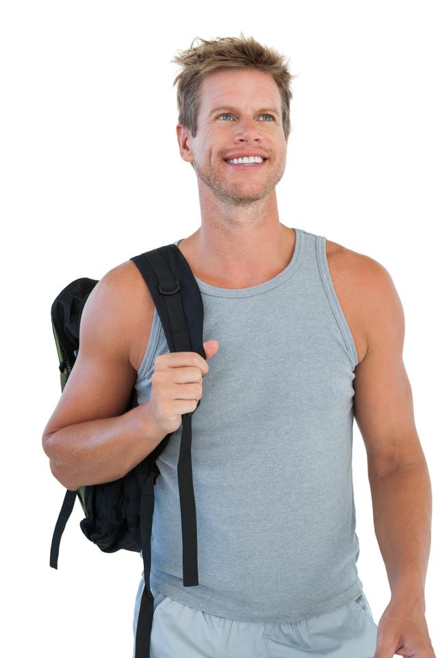 """Cheerful man in sportswear"" stock image"