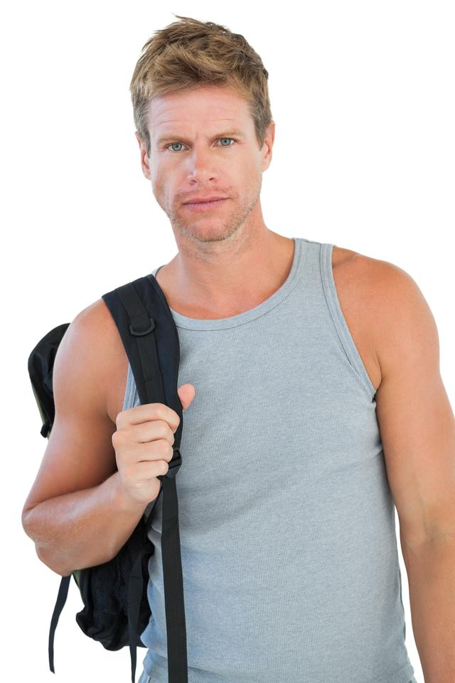 """Attractive man in sportswear gesturing"" stock image"