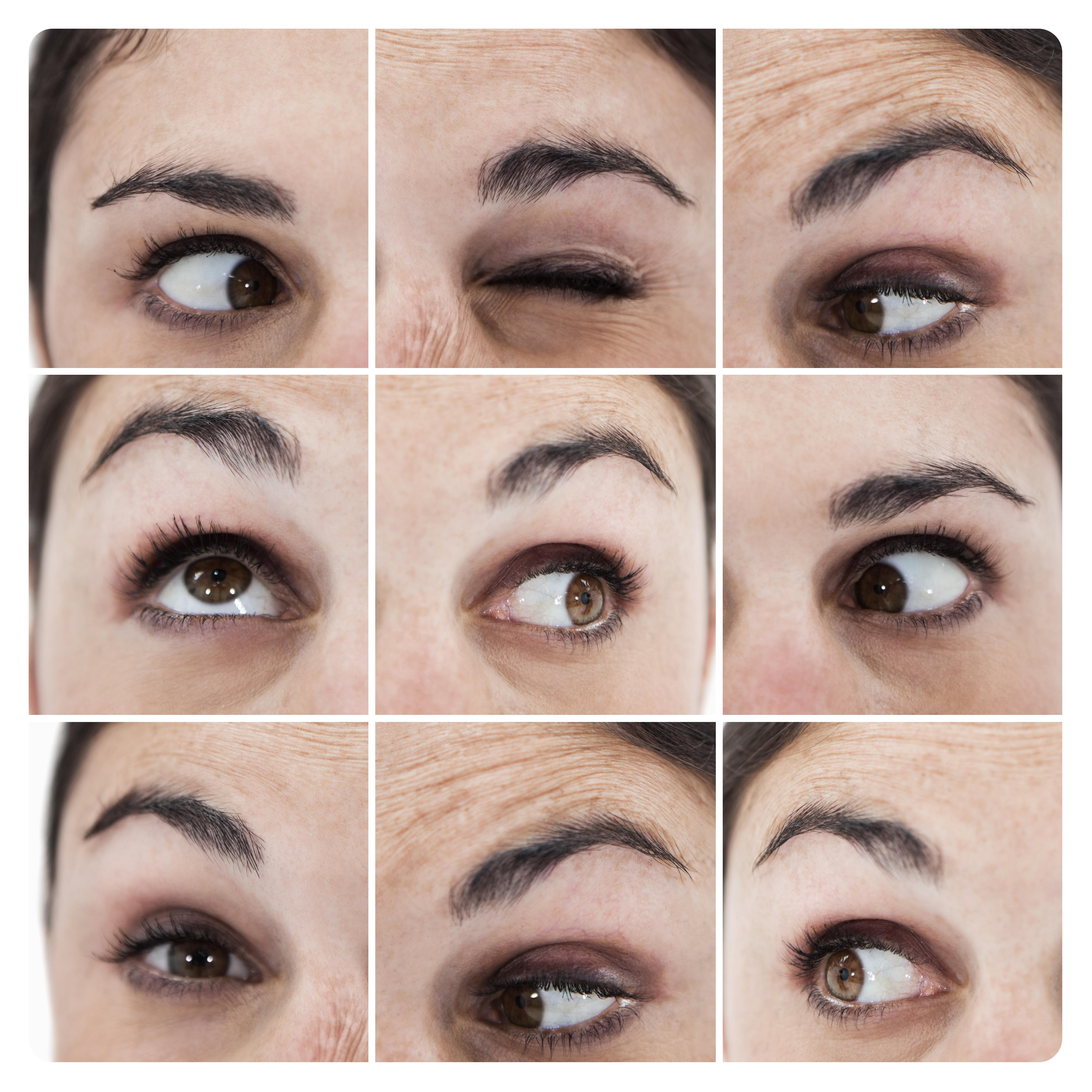 """Collage of various pictures showing the eyes of a woman"" stock image"