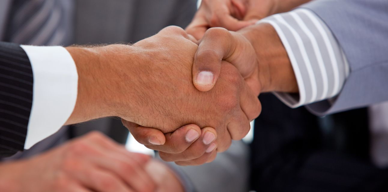 """""""Close up of two businessmen closing a deal"""" stock image"""