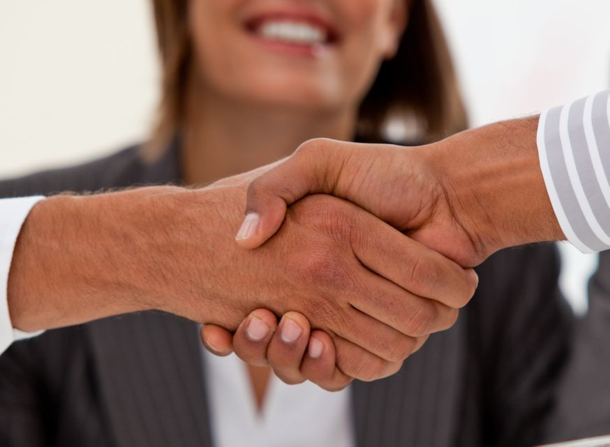 """""""Close up of successful businessmen closing a deal"""" stock image"""