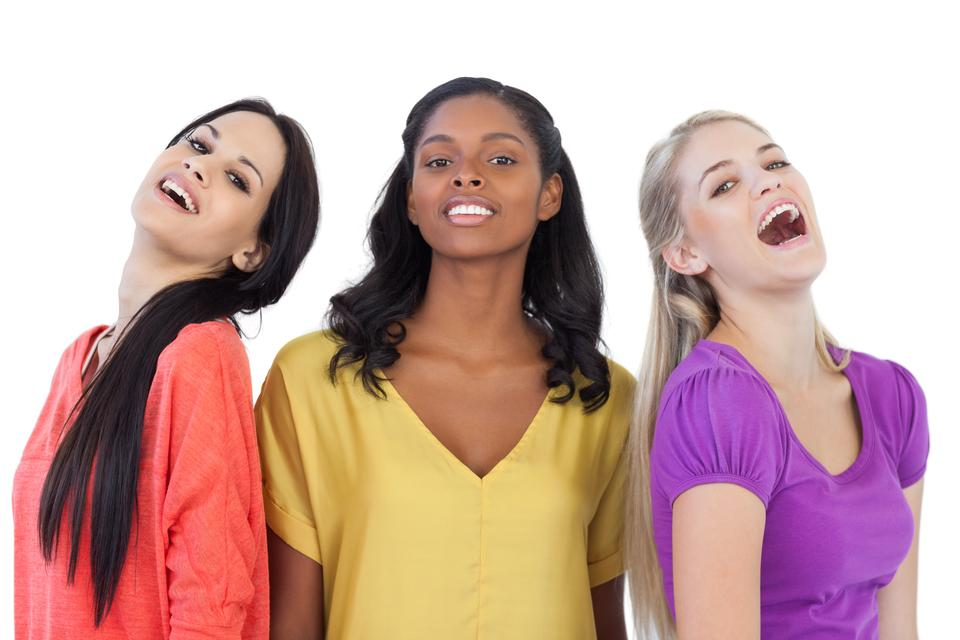 """""""Diverse young women laughing at camera"""" stock image"""