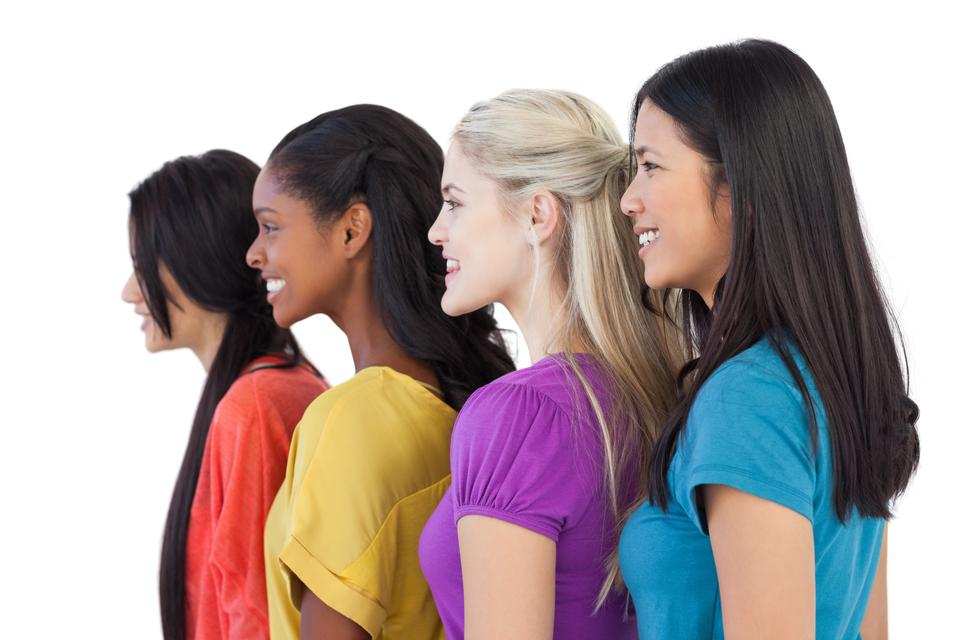 """""""Diverse young women looking in the same direction"""" stock image"""