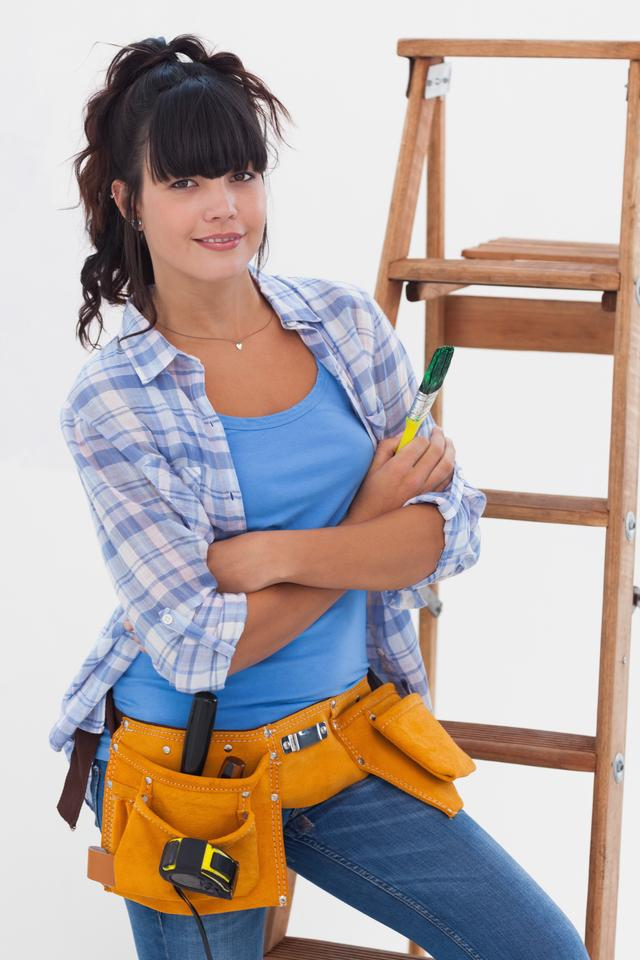 """Young woman ready for home improvement"" stock image"