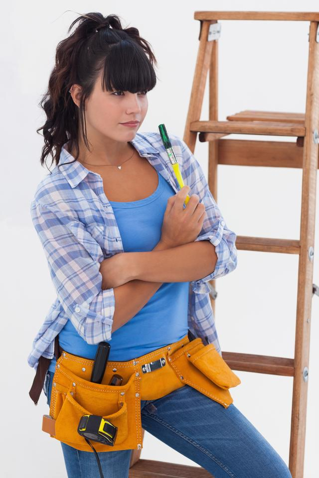 """Woman ready for home improvement"" stock image"