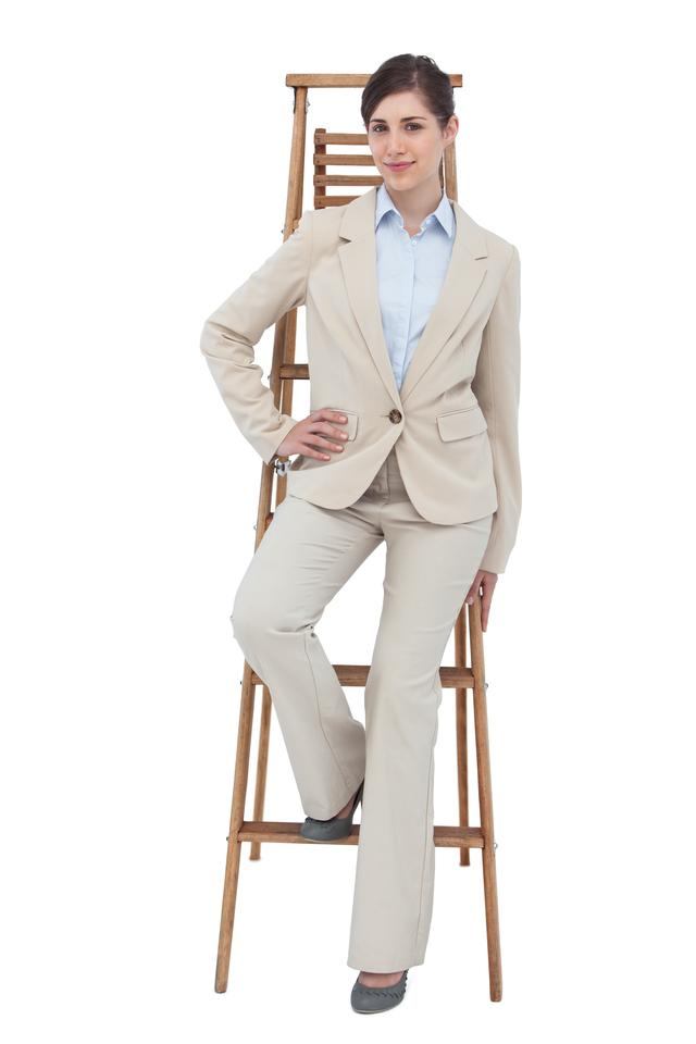 """Businesswoman sitting on career ladder"" stock image"