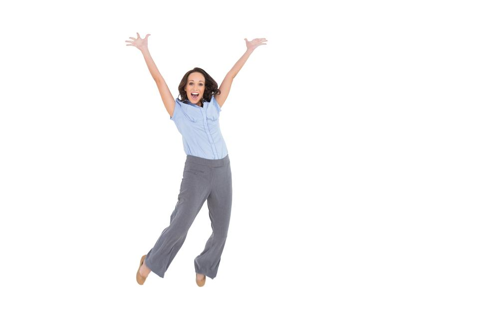 """Cheerful classy businesswoman jumping"" stock image"
